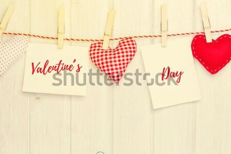 Photo frames and handmaded valentines day toy heart Stock photo © karandaev
