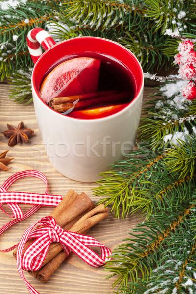 クリスマス ワイン 木製のテーブル クローズアップ 食品 雪 ストックフォト © karandaev