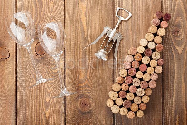 Wine bottle shaped corks, glasses and corkscrew Stock photo © karandaev