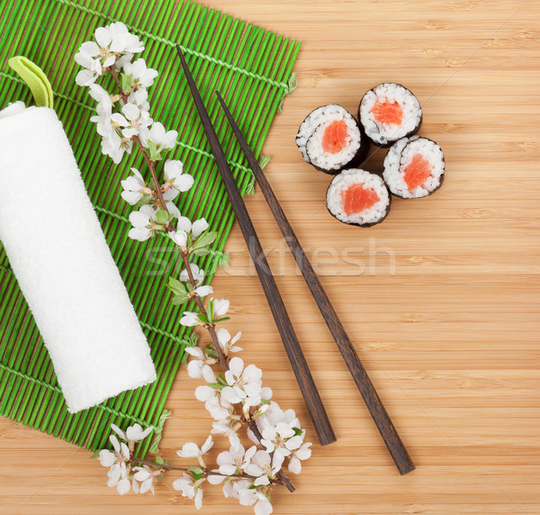 Sushi maki conjunto fresco sakura ramo Foto stock © karandaev