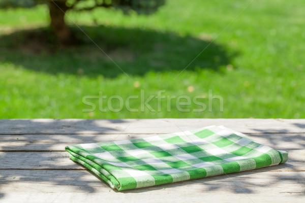 空っぽ 木製 庭園 表 テーブルクロス 緑 ストックフォト © karandaev