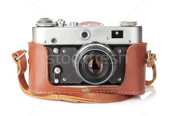 Vintage film caméra cuir cas isolé Photo stock © karandaev