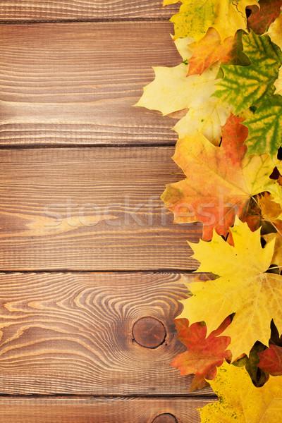 Colorato acero foglie copia spazio albero legno Foto d'archivio © karandaev
