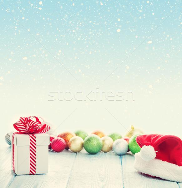 ストックフォト: クリスマス · ギフトボックス · サンタクロース · 帽子 · カラフル · 装飾