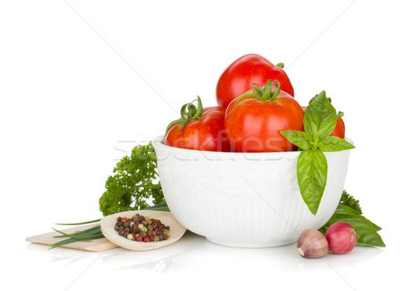 Olgun domates fesleğen maydanoz soğan baharatlar Stok fotoğraf © karandaev