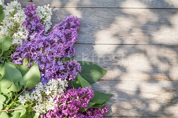 Kolorowy liliowy kwiaty ogród tabeli górę Zdjęcia stock © karandaev