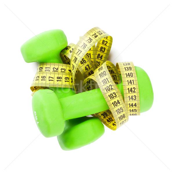 Haltères mètre à ruban fitness isolé blanche santé Photo stock © karandaev