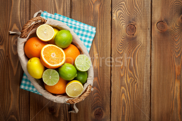 Stok fotoğraf: Narenciye · meyve · sepet · portakal · limon · üst