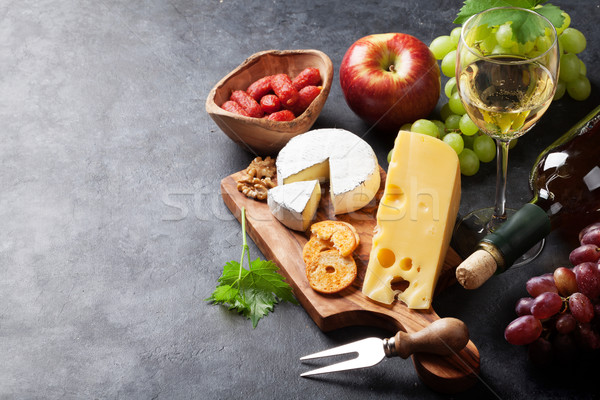 Сток-фото: вино · винограда · сыра · белое · вино · хлеб