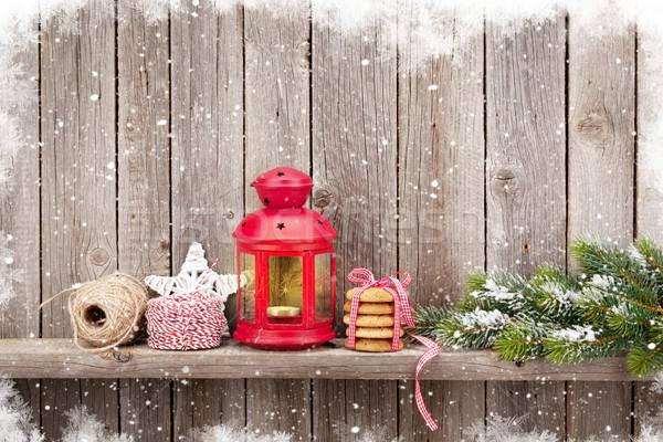 Рождества свечу фонарь стены Сток-фото © karandaev