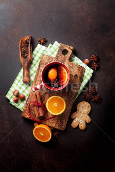 Christmas mulled wine and ingredients Stock photo © karandaev