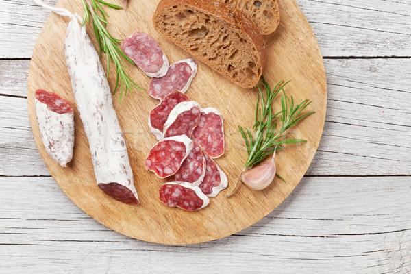サラミ パン 肉 木製のテーブル 先頭 ストックフォト © karandaev