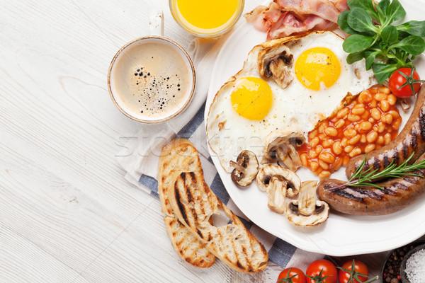 английский завтрак жареный яйца бекон Сток-фото © karandaev