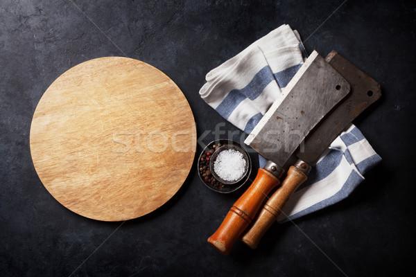Stockfoto: Slager · vintage · vlees · messen · specerijen · boord