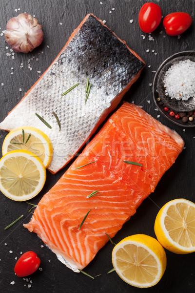 Nyers lazac hal filé fűszer főzés Stock fotó © karandaev