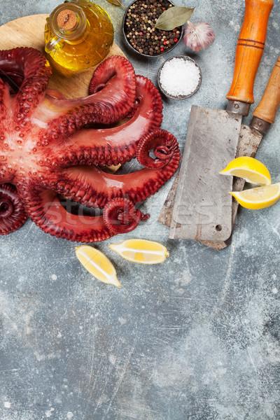 Stock fotó: Nyers · polip · főzés · fűszer · kő · asztal