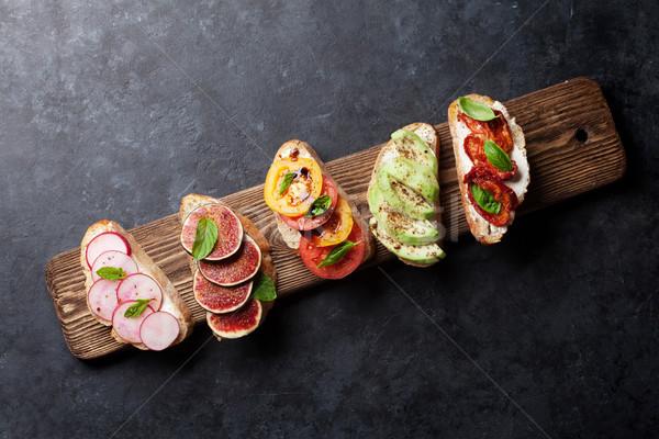 Espanol tapas establecer tradicional aperitivos italiano Foto stock © karandaev