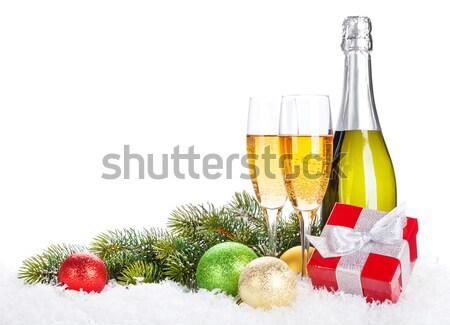 Szampana butelki okulary pusty gift card christmas Zdjęcia stock © karandaev