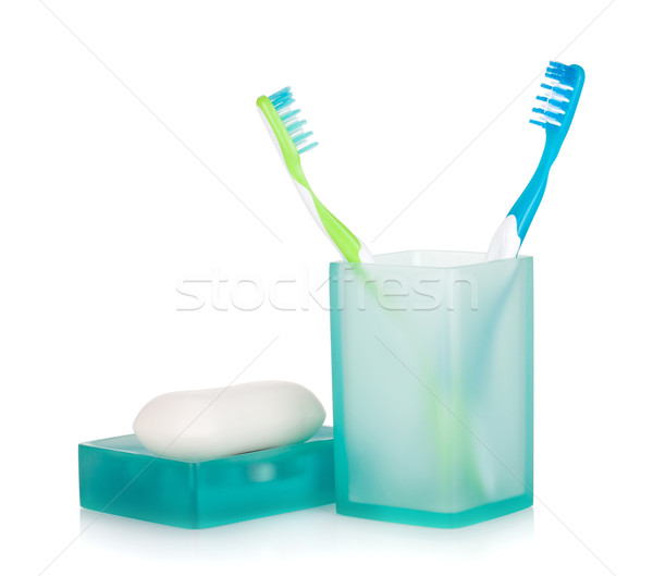 Stock photo: Two toothbrushes and soap