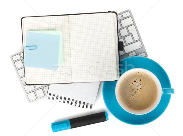 Stock fotó: Kék · kávéscsésze · irodaszerek · felülnézet · izolált · fehér
