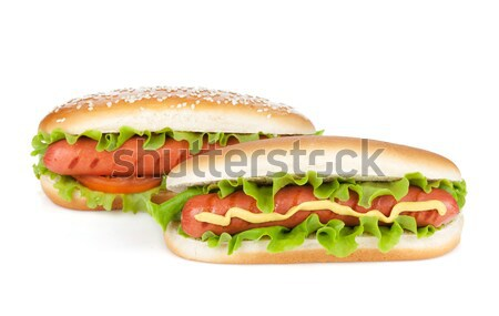 Three hot dogs with various ingredients Stock photo © karandaev