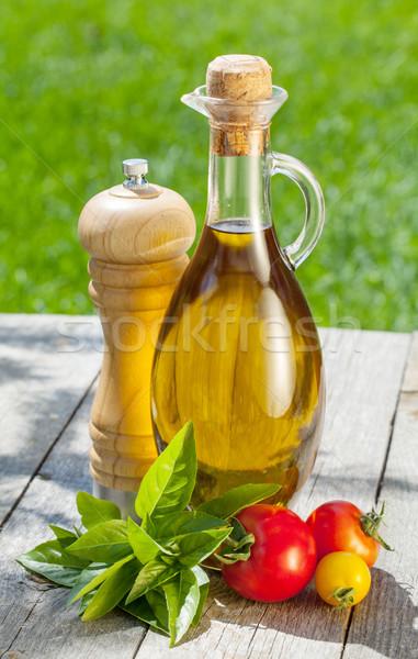 оливкового масла бутылку перец шейкер помидоров травы Сток-фото © karandaev