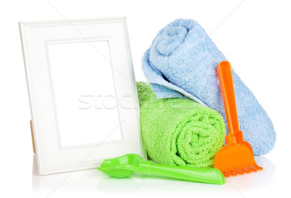 Photo frame with bath towel and toys Stock photo © karandaev