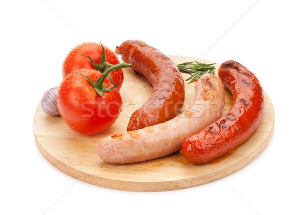 Stockfoto: Gegrild · worstjes · tomaten · geïsoleerd