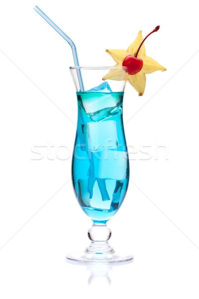 Blue cocktail with carambola Stock photo © karandaev
