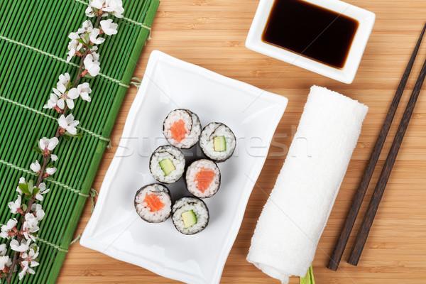 Sushi maki ayarlamak taze sakura şube Stok fotoğraf © karandaev