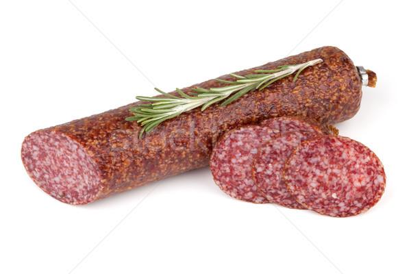 Slices italian salami sausage with rosemary Stock photo © karandaev
