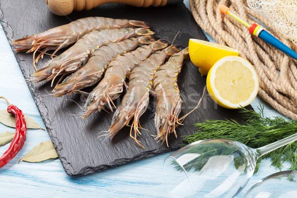 Fresh raw tiger prawns Stock photo © karandaev