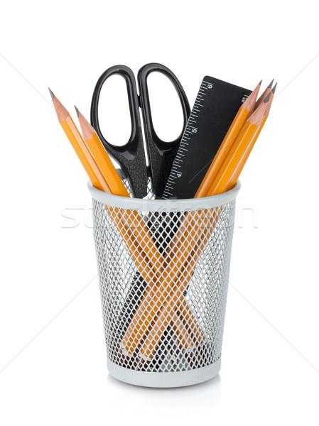 Crayons souverain ciseaux isolé blanche bureau Photo stock © karandaev