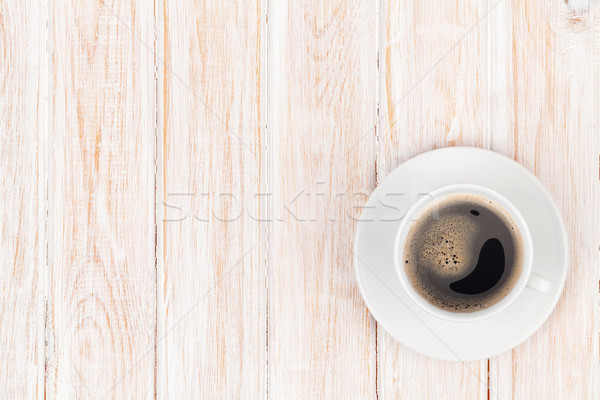 Coffee cup on white wooden table Stock photo © karandaev
