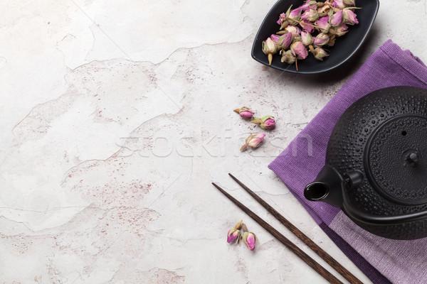 Asian rose thé théière pierre table Photo stock © karandaev