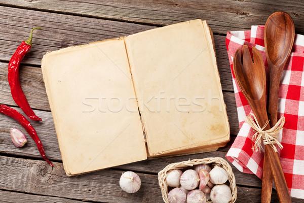 Vintage receita livro utensílios ingredientes cozinhar Foto stock © karandaev