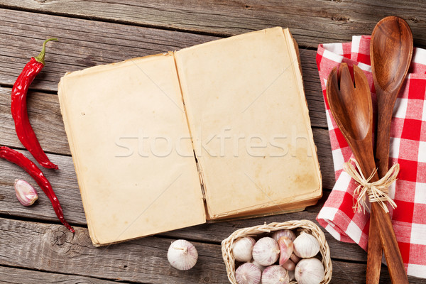 Vintage recipe book, utensils and ingredients Stock photo © karandaev