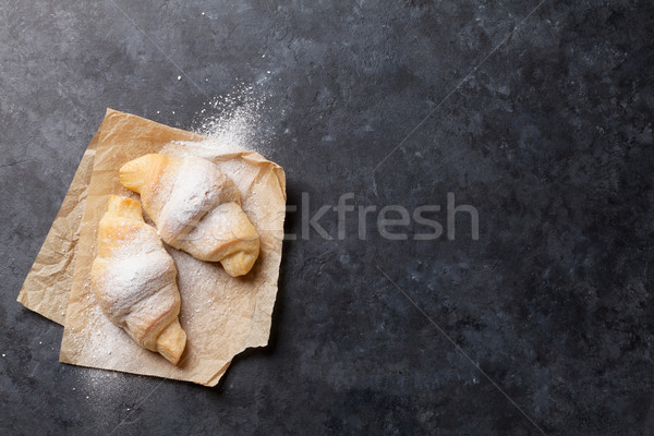 Fresco caseiro croissants pedra tabela topo Foto stock © karandaev