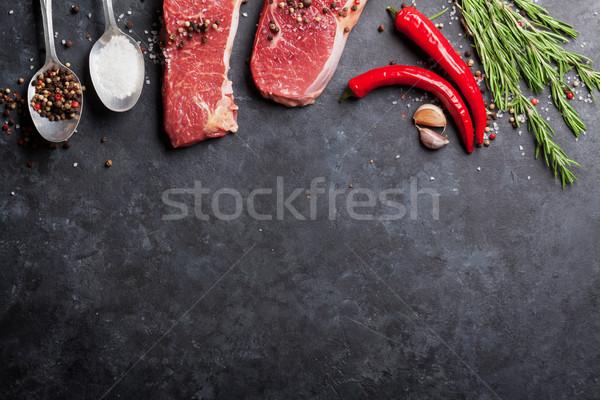 生 ステーキ ローズマリー 塩 唐辛子 料理 ストックフォト © karandaev