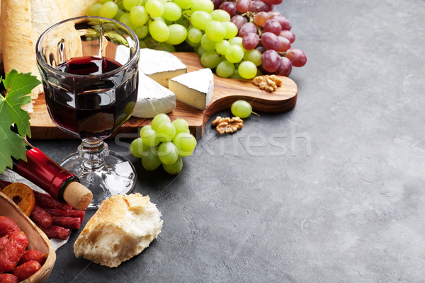 Stock photo: Wine, grape, cheese, sausages