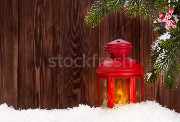 Natal vela lanterna neve ramo Foto stock © karandaev