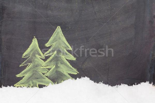Karácsony kézzel rajzolt fenyőfa hó fa asztal Stock fotó © karandaev