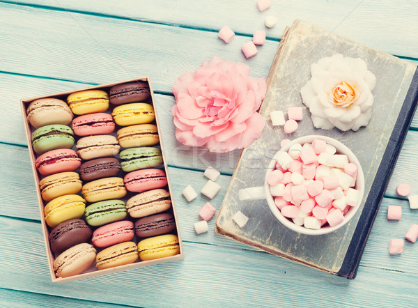 красочный окна проскурняк деревянный стол Sweet macarons Сток-фото © karandaev
