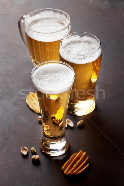 Lager beer and snacks Stock photo © karandaev