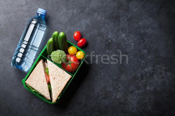 Ebéd doboz zöldségek szendvics kő asztal Stock fotó © karandaev