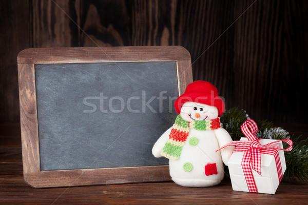 Natal quadro-negro boneco de neve dom caixa de presente ver Foto stock © karandaev