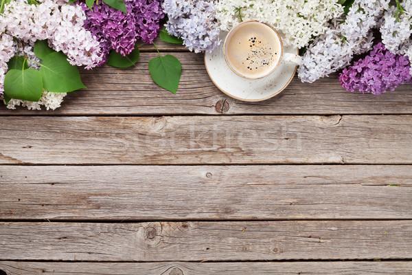 красочный сирень цветы чашку кофе Top Сток-фото © karandaev