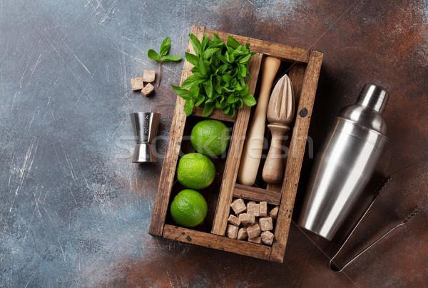 Stockfoto: Mojito · cocktail · ingrediënten · vak · bar