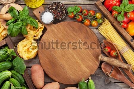 新鮮な 庭園 トマト 胡瓜 パスタ 料理 ストックフォト © karandaev