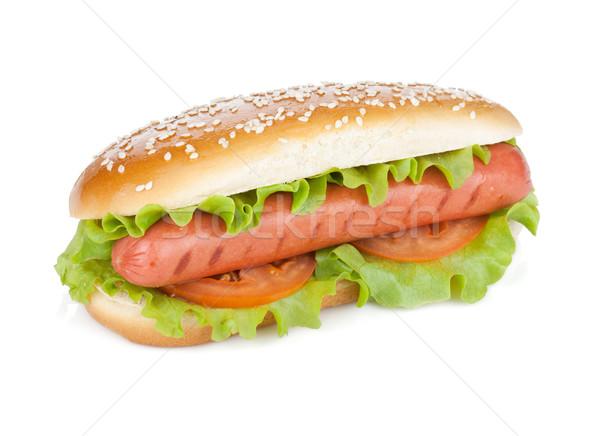 Sosisli sandviç marul domates dilimleri yalıtılmış beyaz Stok fotoğraf © karandaev